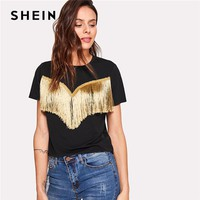 SHEIN Black Fringe Detail Tee Women Round Neck Short Sleeve Clothing Casual T-shirt 2018 Summer Female New Basic Top Tee