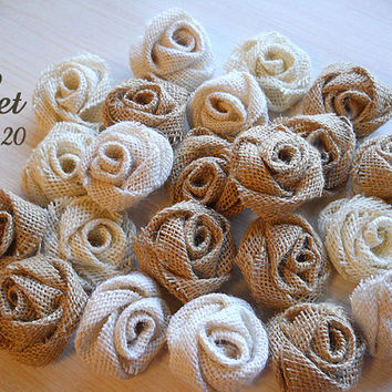 Burlap Roses Bulk Set of 20 Burlap Flowers for weddings, bouquet making, wedding decor, diy weddings. Made to Order.