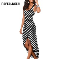 Refeeldeer Women Summer Dress  Summer Sundress Female Striped Long Maxi Dress Tunic Boho Beach Dress Robe Femme vestidos