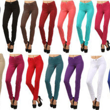 HOT NEW BASIC HIGH WAIST WOMENS SKINNY JEANS JEGGINGS LEGGINGS STRETCH PANTS
