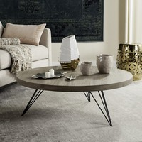 Mansel Retro Mid Century Round Coffee Table in Light Oak and Black Ov Made with Iron, MDF by Safavieh | FOX4233A | Safavieh - Truth In Craft