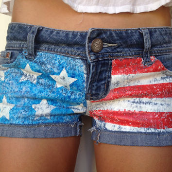 Denim American Flag Themed Shorts