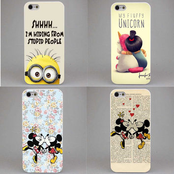 Sale Minion My Unicorn Agnes Hard  Mickey Mouse kissing Clear Case Cover Coque for iPhone SE 4 4s 5 5s 5c 6 S 6Plus 7 7Plus