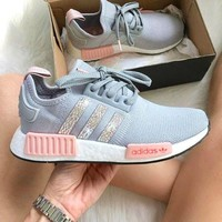 ADIDAS Women Running Sport Casual Shoes NMD Sneakers GREY/Pink