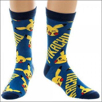 Nintendo Pokemon Pikachu All over Print Costume Cosplay Blue Crew Socks LICENSED