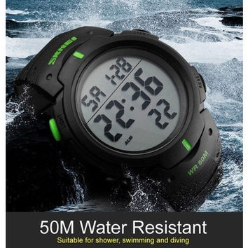Waterproof Men's Boy LCD Digital Stopwatch Date Rubber Timer Sport Wrist Watch [8833615372]
