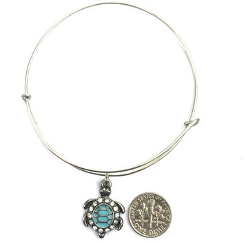 Turtle Charm Bracelet - Aqua and Silver Bejeweled Turtle - Turtle Alex and Ani Inspired - Silver Jewelry - Stacking Bangles