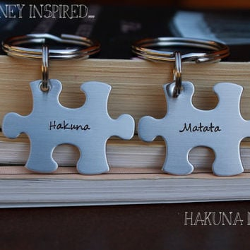 Hakuna Matata Puzzle Piece Key Chain Duo -  Hand Stamped Stainless Steel BFF Wedding Graduation Best Friends