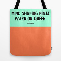 Teacher Tote Bag — Mint and Coral - Great Teacher Gift! —Personalized Teacher Gift