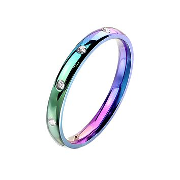 Prism Forever - Women's 10 CZ Flush Set Stainless Steel Dome Ring