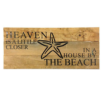 Heaven Is A Little Closer In A House By The Beach (with Starfish) - Reclaimed Wood Art Sign - 14-in x 6-in