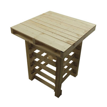 Pallet Style Wood End Table Night Stand Rustic Industrial Skid Design