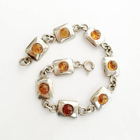 "Pretty Sterling Silver 7.5""  Bracelet with Amber Stones on Solid Sterling Rectangles, Modernist Style Bracelet, Sparkling Amber and Silver"