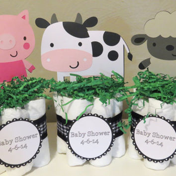 Farm Animal Mini Diaper Cake Centerpieces for baby shower or gift