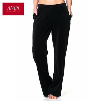 Home women pants in soft velour on a knitted base