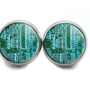 Circuit Board Earrings Computer Post Earrings, Techie Jewelry