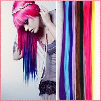 Colorful Hair Extensions Long Straight easy Clip In Extensions Party Highlights Punk Hair Fashion