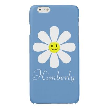 Personalized White Smiley Daisy Glossy iPhone 6 Case