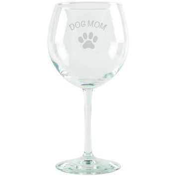 DCCKJY1 Dog Mom Etched Red Wine Glass