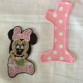 Baby Mouse patch and Number Applique DIY toddler Birthday Oufit Infant Birthday Outfit Mickey Inspired No Sew