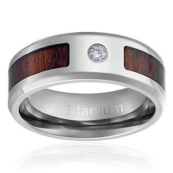 8MM Titanium Ring Wedding Band Dark Wood Inlay Round Cut CZ Center Stone and Beveled Edges | FREE ENGRAVING