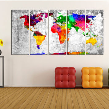 Abstract wall art large world map canvas print, extra large wall art, world map canvas , World map wall decor, world map wall decal No:6S61