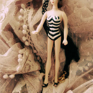 Barbie with Black and White stripes classic swimsuit vintage doll necklace in brunette hair