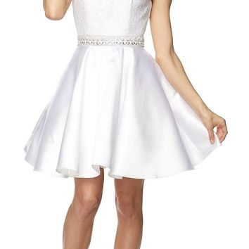 Juliet 781 - Short A Line Halter Lace Top Homecoming Dress White