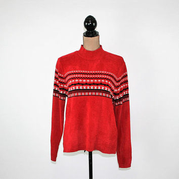 Red Sweater Women Medium Chenille Pullover Winter Fair Isle Nordic Grunge Oversized Sweater Mock Neck Vintage Clothing Womens Clothing