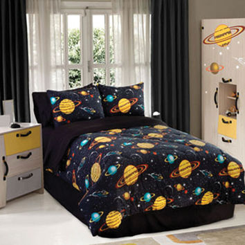 Veratex Hotel Indoor Bedroom Decorative Designer Duvet Accessories Rocket Star Comforter Set Queen Black Multi