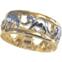 W-512 14kt Gold Electroplated Elephant Woman's Ring (Available in Sizes 5 to 10) Lifetime Guarantee
