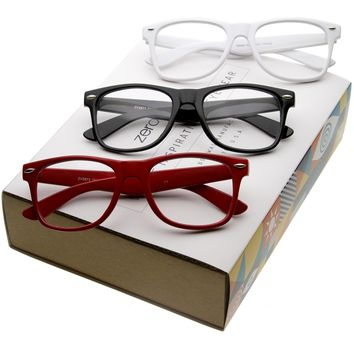 Retro Large Horned Rim Clear Lens Optical Glasses C001 [Promo Box]
