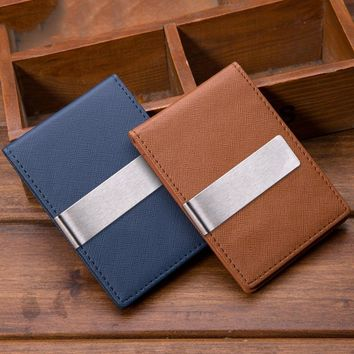New Wallet Creative Men's Wallet PU Leather Personality Blue Brown Ultra thin Card Package Solid Color Wallet MQB 19
