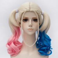 ccutoo wig 2017 New Styled Movie Film Harleen Quinzel Harley Quinn Cosplay Wig Curly Synthetic Hair Wig