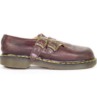 UK 3 | 90s Dr Martens Mary Janes / Made in England / vintage 1990s / burgundy leather / maroon / goth / grunge / gothic / women US 5 | EU 36
