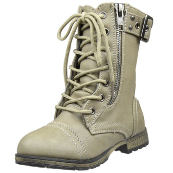 Kids Mid Calf Boots Buckle Accent Lace Up Combat Boots Taupe SZ