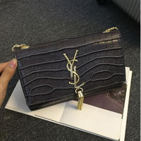 YSL_CROCODILE GRAIN TASSEL BAG CHAIN SHOULDER BAGS
