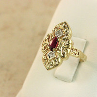 Vintage Gold Ring Garnet Ring 10k Yellow Gold Ring Shield Ring Estate Ring Gemstone Ring Cocktail Ring Antique Ring Size 6.25