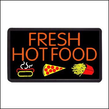 "Fresh Hot Food Backlit Illuminated Electric Window Sign - 13""x24"""