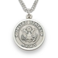 "3/4"" Sterling Silver Army Medal, St. Michael on Back on 20"" chain"