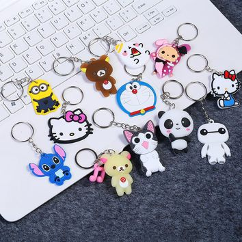 Funny Animal Keychain Cute Cartoon Hello Kitty Minions Chi Cat  Panda Keycover Children Car Keychains Accessories