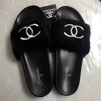 CHANEL men's and women's couple slippers soft felt fur shoes F