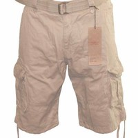 Men Cargo Pocket Shorts Khaki Beige, Inner Drawstring Waist, Belt Included, Avail Size 30-44