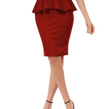 Slim Fit Work Office High Waisted Ruffle Pencil Midi Skirt with Stretch