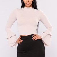 Sage Bell Sleeve Top - Taupe