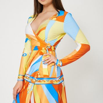 Abstract Pattern Wrap Dress