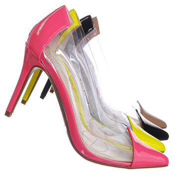 Carnation37 Lucite Clear Pointed Toe Pump - Women Neon Transparent Dress Heels