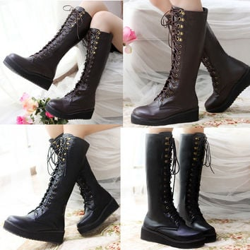 Rock Style Womens Lace Up Knee High Platform Punk Gothic Military Boots 10 Size