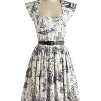 Bernie Dexter Long Cap Sleeves A-line Eiffel Power Dress in Toile