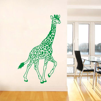 Wall Decal Vinyl Sticker Decals Art Home Decor Design Mural Giraffe Animals Jungle Safari African Kids Children Nursery Baby Bathroom AN60